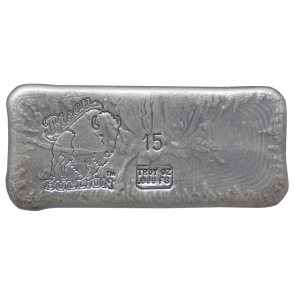 15 oz Silver Bison Bullion Hand poured Bar