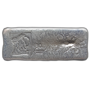 30 oz Silver Bison Bullion Hand poured Bar