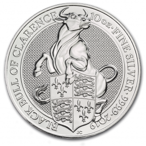 10 oz Silver Queen's Beast Black Bull Coin 2019