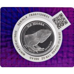 1 oz Silver Scottsdale Fiji Branded Iguana Certii-Lock Coin 2015