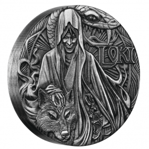2 oz Silver Norse Gods – Loki High Relief Antiqued Coin 2016