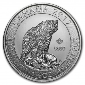 1.5 oz Silver Grizzly Bear Coin 2017
