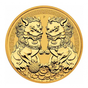 1 oz Gold Perth Mint Guardian Lions Double Pixiu Coin 2021