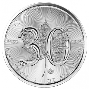 1 oz Silver 30th Anniversary Maple Leaf Coin 2018 BU
