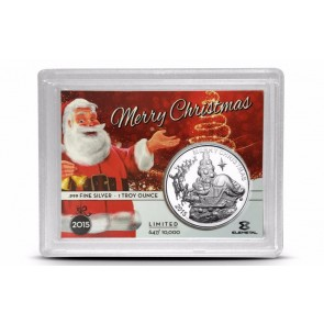 1 oz Silver Limited Edition Merry Christmas High Relief Round 2015