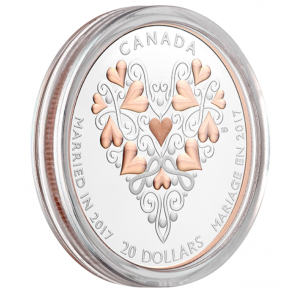 1 oz Silver Best Wishes On Your Wedding Day Coin with Pink Gold Plating 2017